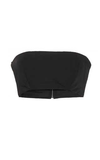 Medium mulhier black linen twill blend bandeau top