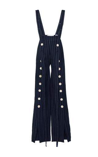 Medium mulhier navy pinstripe split leg overalls