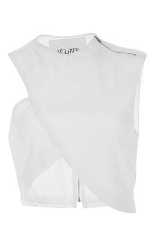 Medium mulhier white asymmetrical wrap top