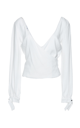 Medium mulhier white v neck wrap top