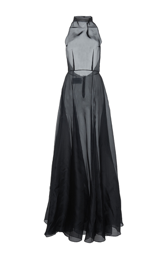 Medium mulhier black silk organza a line gown