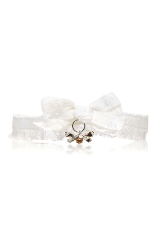 Medium maison michel white ava lace bow tie