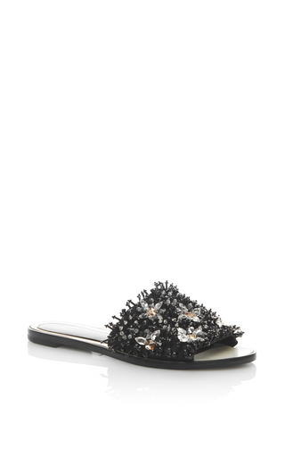 Medium lanvin black flower embellished slide