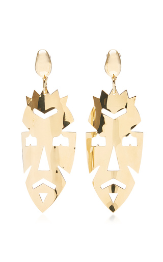 Medium loewe gold vintage mask earrings