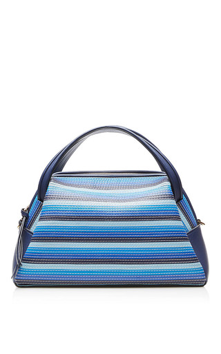 Medium loewe blue canoe stitches bag