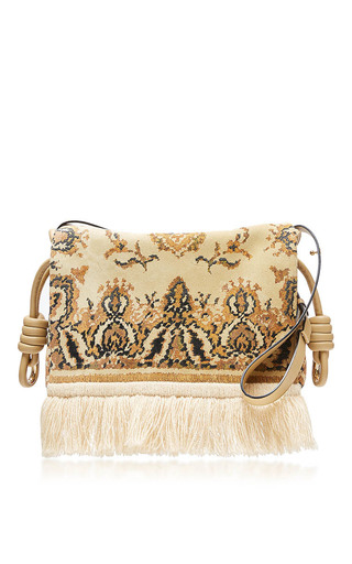 Medium loewe gold flamenco flap tapestry bag