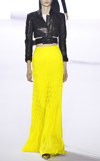 Medium haider ackermann yellow hand smocked skirt