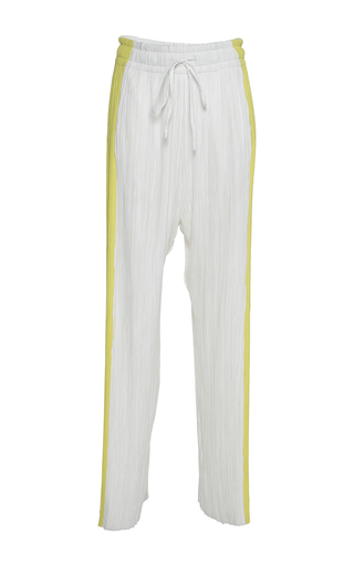 Medium haider ackermann white yellow tuxedo stripe plisse trousers
