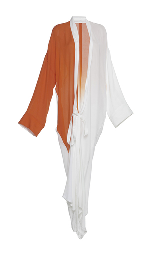 Medium haider ackermann white colorblocked wrap dress