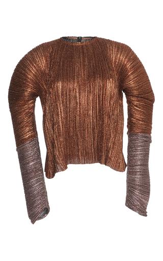 Medium haider ackermann metallic long sleeve plisse top