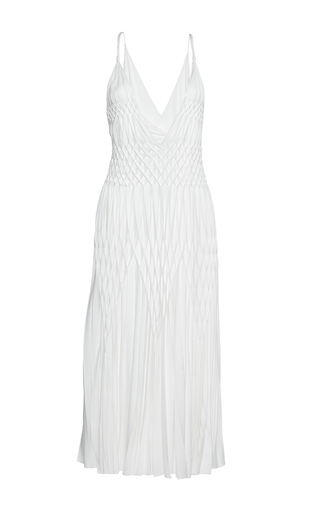 Medium haider ackermann white midi smocked dress