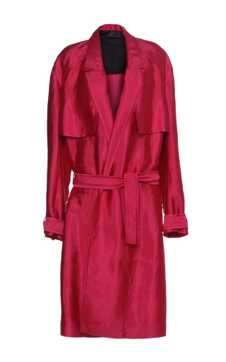 Medium haider ackermann fuchsia belted trench coat