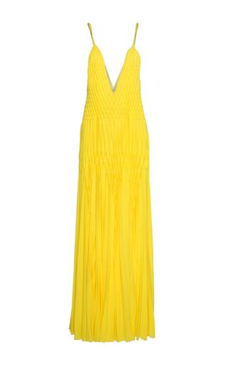 Medium haider ackermann yellow hand smocked long dress