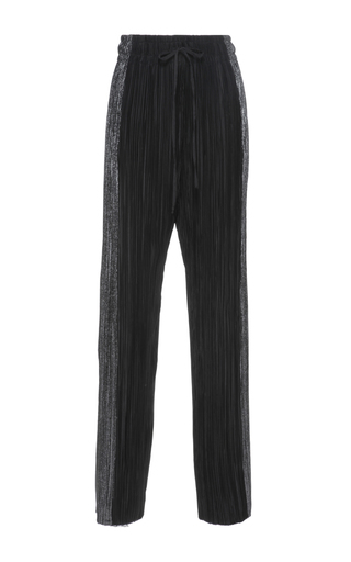 Medium haider ackermann black tuxedo stripe plisse trousers