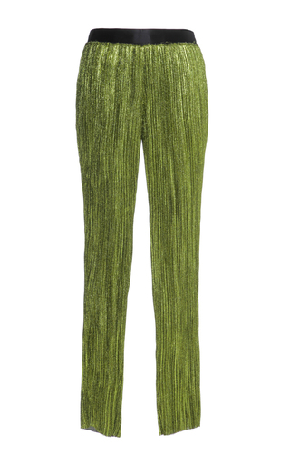 Medium haider ackermann green skinny plisse trousers