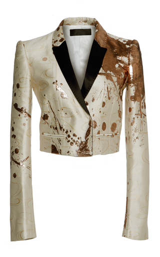 Medium haider ackermann yellow splatter paint cropped jacket
