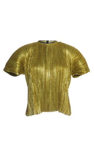 Medium haider ackermann gold short sleeve plisse top