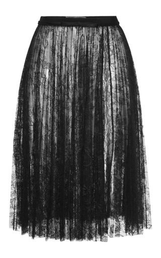 Medium giambattista valli black high waist pleated lace skirt