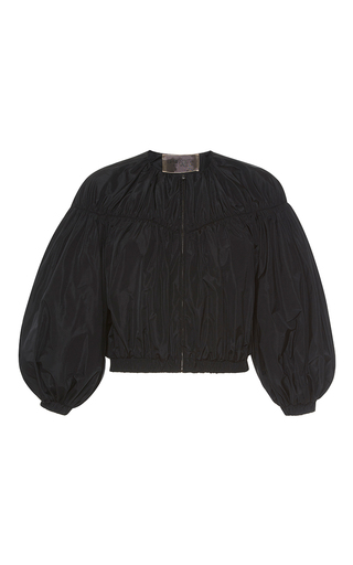 Medium giambattista valli black balloon sleeve bomber jacket