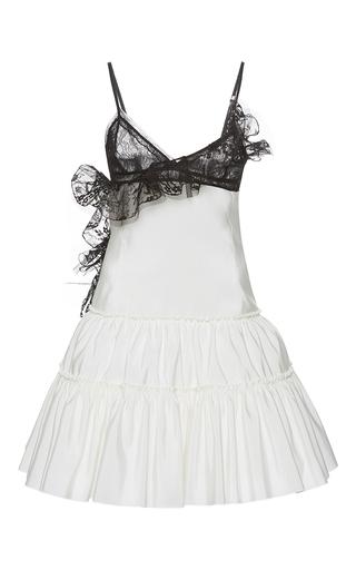 Medium giambattista valli black flounced lace trumpet mini dress
