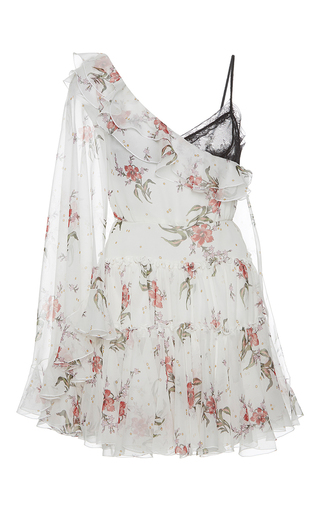Medium giambattista valli print asymmetrical lace detail mini dress