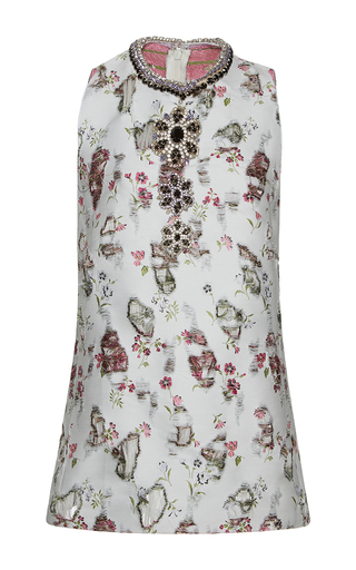 Medium giambattista valli multi distressed floral embroidered jeweled top
