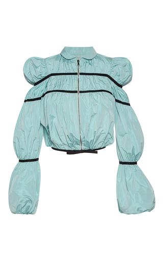 Medium giambattista valli blue puffed sleeve bomber jacket