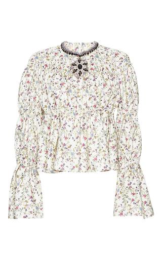 Medium giambattista valli print ruched jeweled neck floral print top