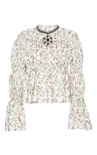 Medium giambattista valli print ruched jeweled neck floral print top