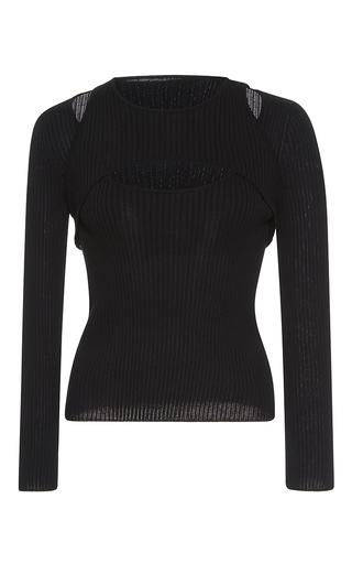 Medium giambattista valli black long sleeve cutwork knit top
