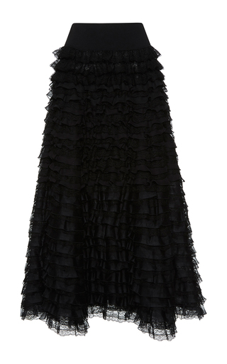 Medium giambattista valli black high waist tiered flounced maxi skirt