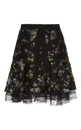 Medium giambattista valli black distressed floral jacquard skirt