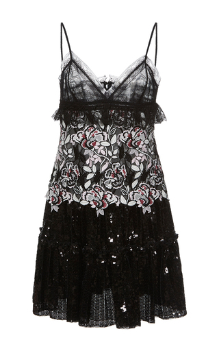 Medium giambattista valli black floral embroidered mini lace dress