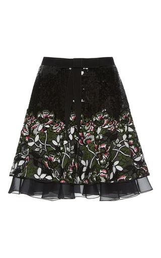 Medium giambattista valli black sequin floral embroidered mini skirt
