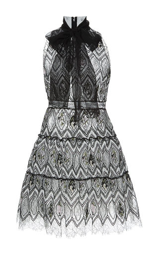 Medium giambattista valli black eyelet lace self tie neck a line dress