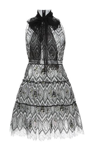 Medium giambattista valli black eyelet lace self tie neck a line dress