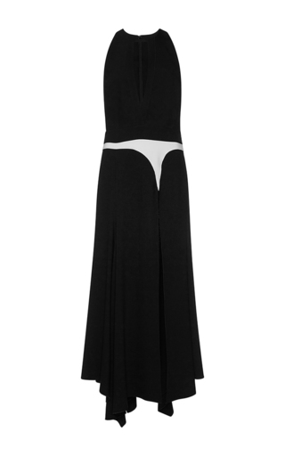 Medium giambattista valli black plunging v neckline handkerchief midi dress