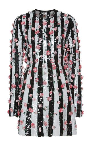 Medium giambattista valli black striped sequin paillette mini shift dress