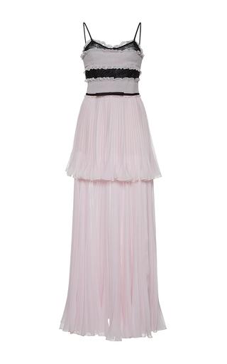 Medium giambattista valli pink tiered pleated column maxi dress
