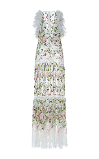 Medium giambattista valli white plunging v neckline floral embroidered maxi dress