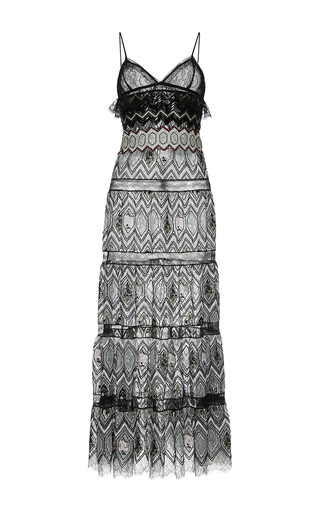 Medium giambattista valli black eyelet lace column dress with chevron beaded detailing