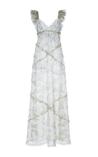 Medium giambattista valli white v neck flounced column dress