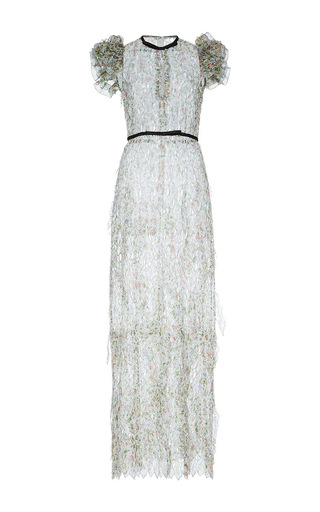 Medium giambattista valli white embroidered floral column dress with flounced cap sleeve