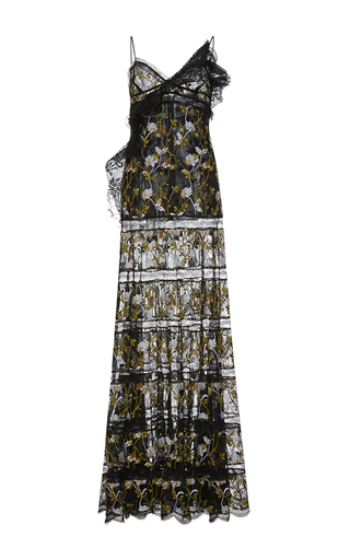 Medium giambattista valli black embroidered floral column eyelet lace dress