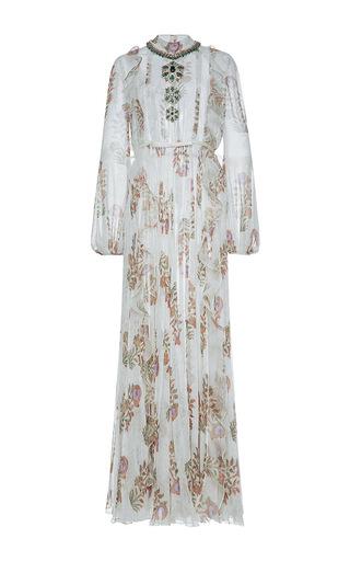 Medium giambattista valli white jeweled neck pleated maxi dress