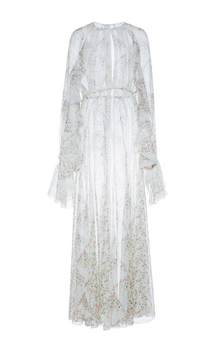 Medium giambattista valli white front slit floral column dress with lace detail