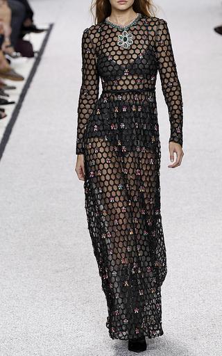 Medium giambattista valli black long sleeve honeycomb beaded dress