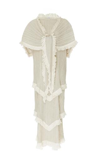 Medium loewe tan shawl pleated tiered dress