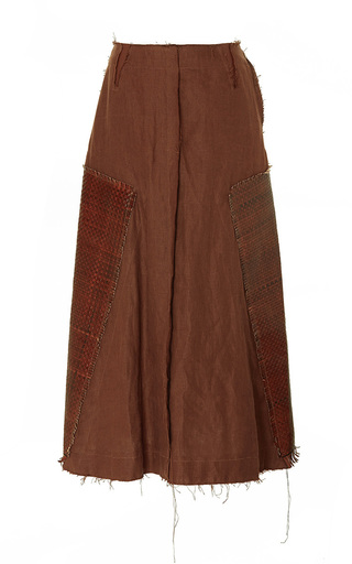 Medium loewe brown leather paneled skirt