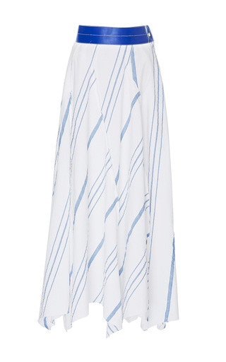 Medium loewe off white pleated leather belt skirt